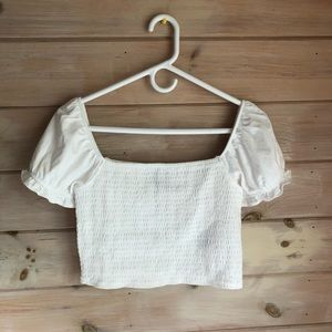 BRAND NEW smocked white crop top